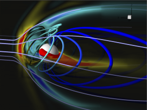 Simulation results for interaction of a solar coronal mass ejection with Earth's magnetosphere.