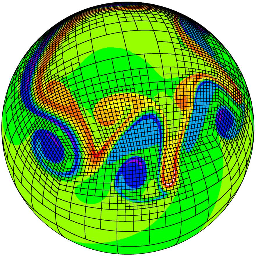 Snapshot of a 2D atmospheric model simulation showing a developing wave that is dynamically tracked by a block-structured and adaptive cubed-sphere computational mesh. Blue and red colors denote a clockwise and counterclockwise rotational motion, respectively.