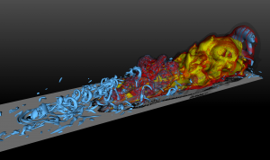 Combustion in a turbulent boundary layer.