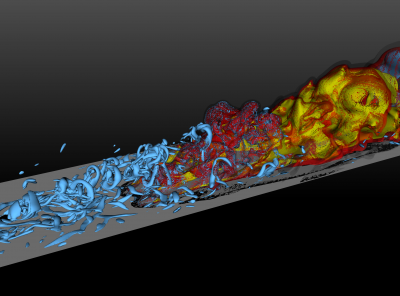 Combustion in a turbulent boundary layer. Courtesy of J. Capecelatro (Mech. Eng.)
