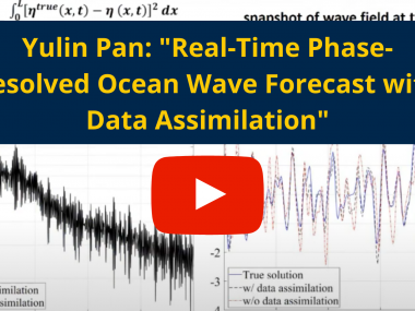"Image of wave patters with red ""play"" icon and text: ""Yulin Pan: 'Real-Time Phase-Resolved Ocean Wave Forecast with Data Assimilation'"""
